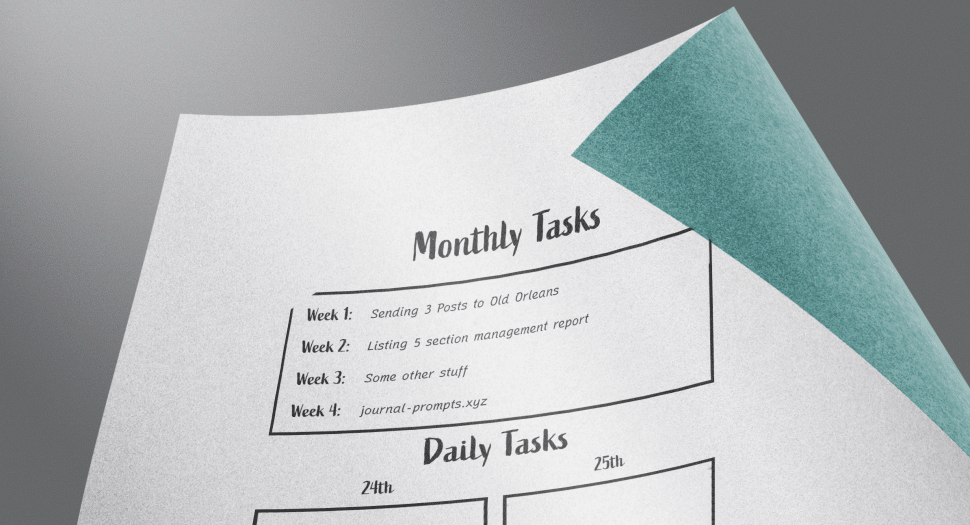 Bullet journal printable A5 page with monthly tasks, daily tasks