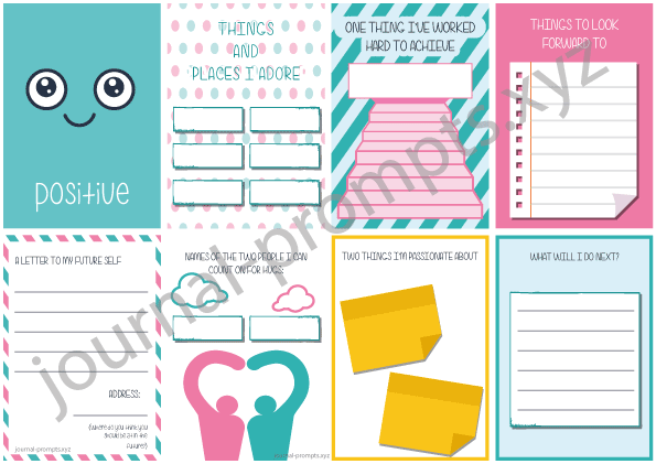 Preview of positive mood tracker and free journal printables with guided journal writing prompts.