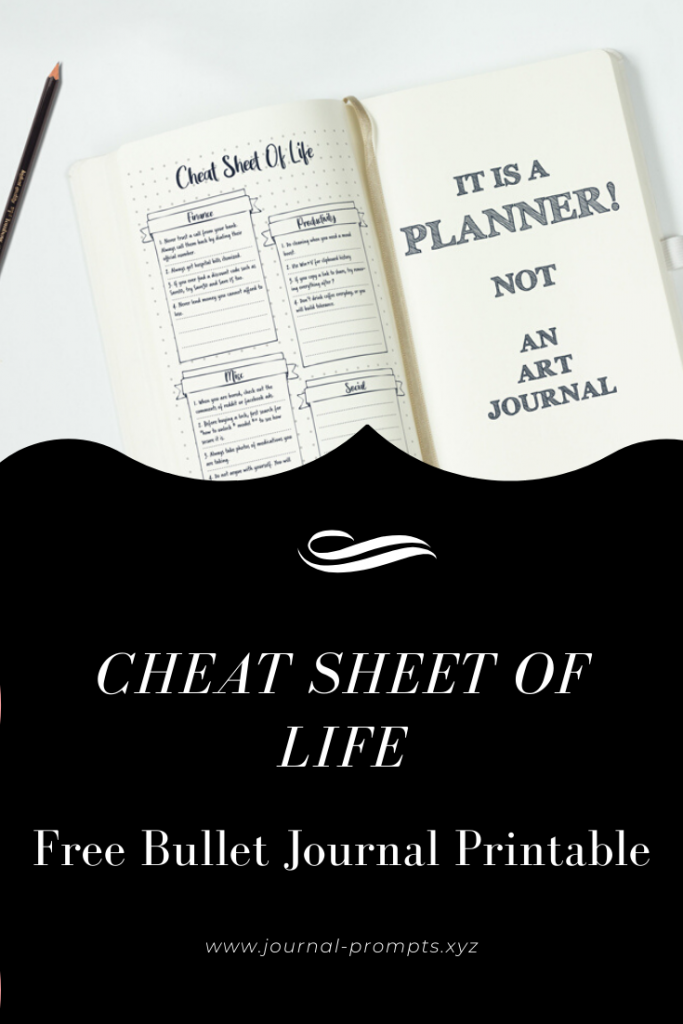 bullet journal cheat spread sheet pin image 1