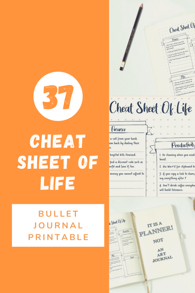 bullet journal cheat spread sheet pin image 3