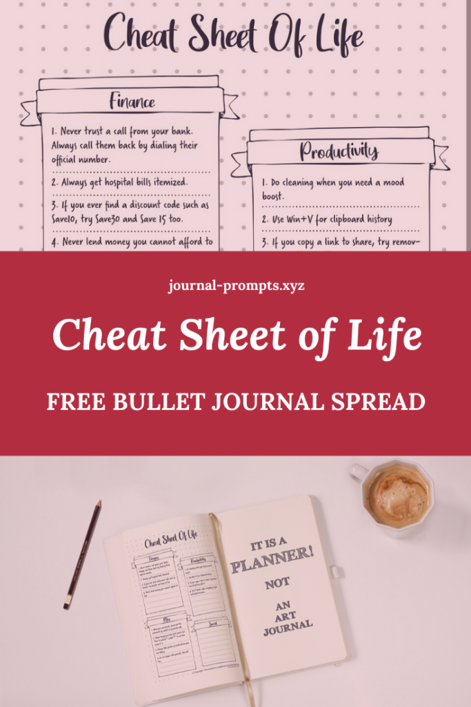 bullet journal cheat spread sheet pin image 2